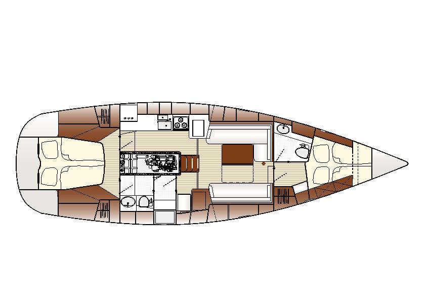 Deckplan Innen der Sunbeam 42.1